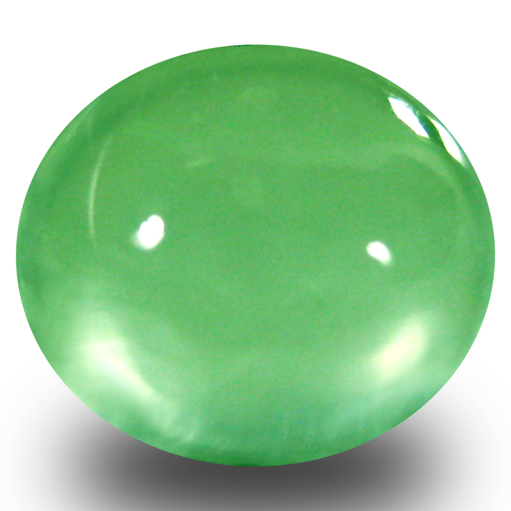 3.08 ct Magnificent Oval Cabochon Cut (9 x 8 mm) Un-Heated Green Prehnite Natural Gemstone