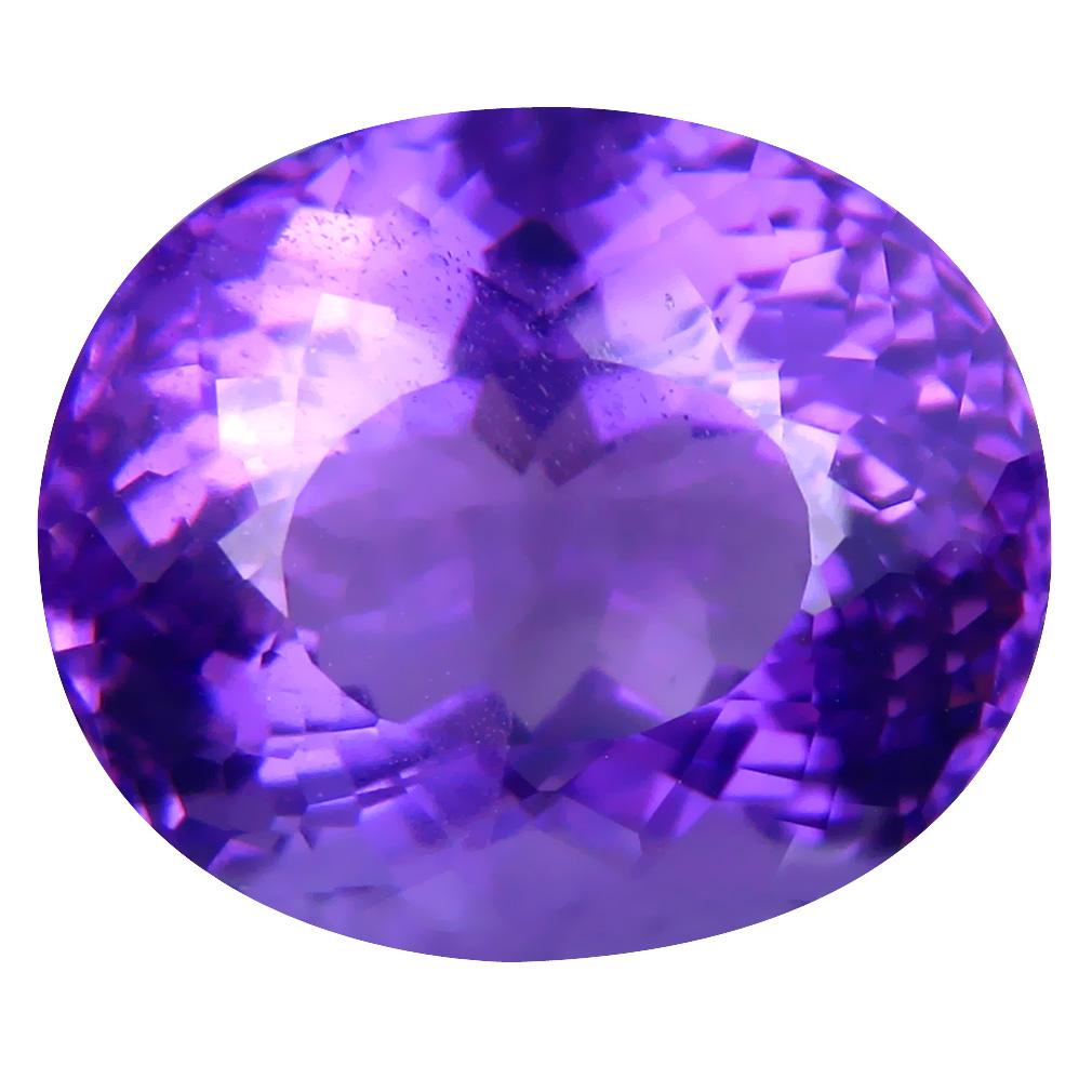13.73 ct Supreme Oval (16 x 13 mm) Unheated / Untreated Uruguay Purple Amethyst Loose Gemstone