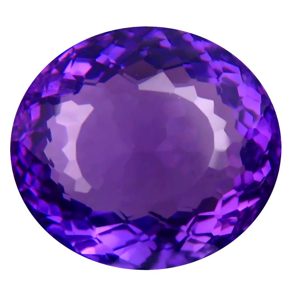 6.18 ct Terrific Oval (12 x 11 mm) Unheated / Untreated Uruguay Purple Amethyst Loose Gemstone