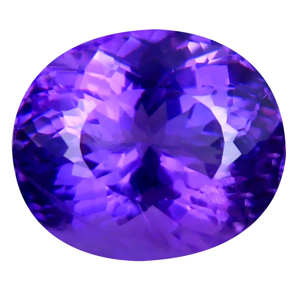 4.95 ct Flashing Oval (12 x 10 mm) Unheated / Untreated Uruguay Purple Amethyst Loose Gemstone