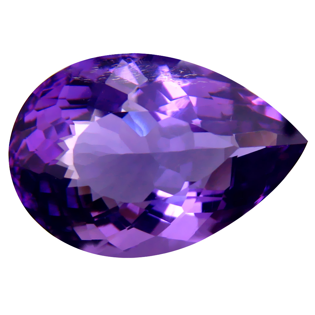 11.28 ct Super-Excellent Pear (19 x 13 mm) Unheated / Untreated Uruguay Purple Amethyst Loose Gemstone