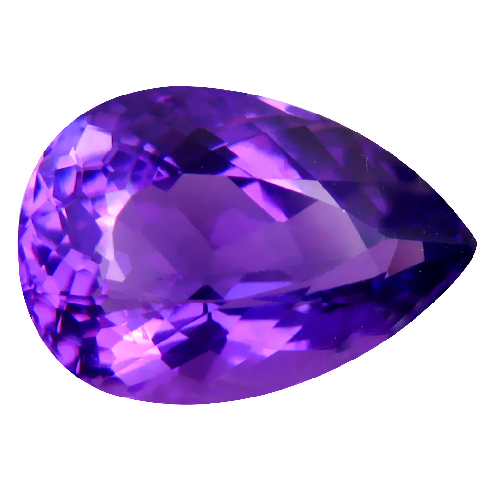 6.92 ct Terrific Pear (15 x 11 mm) Unheated / Untreated Uruguay Purple Amethyst Loose Gemstone