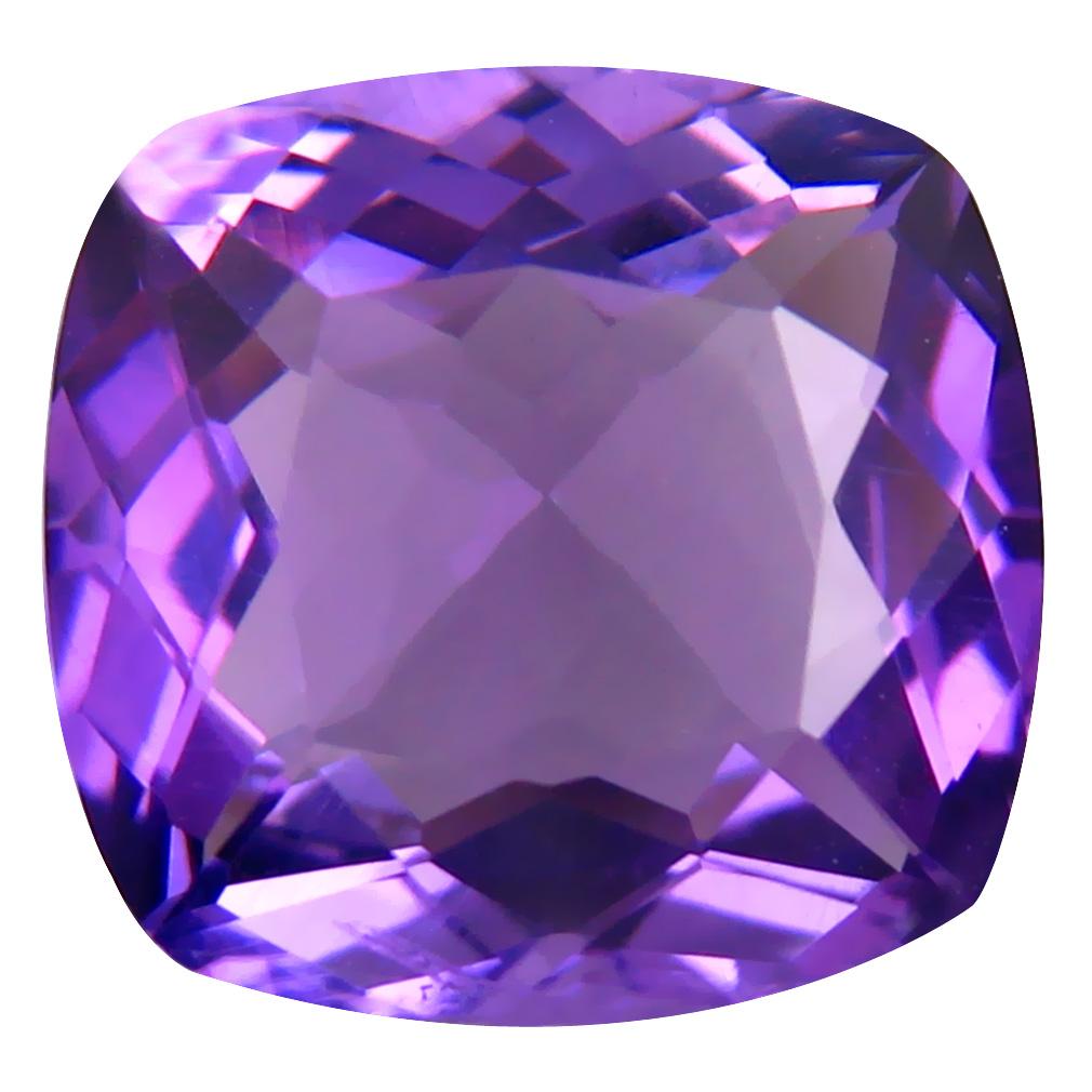 6.14 ct Fair Cushion (12 x 12 mm) Unheated / Untreated Uruguay Purple Amethyst Loose Gemstone