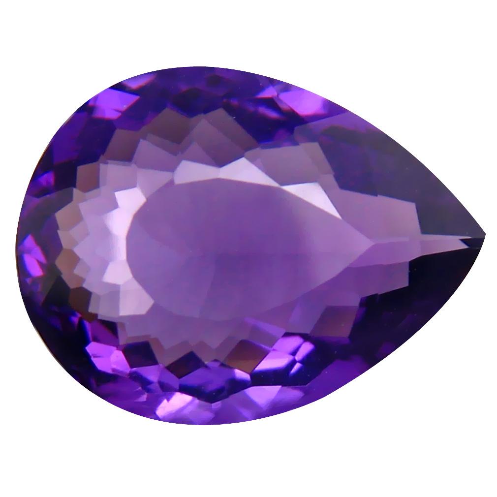 4.83 ct Lovely Pear (14 x 11 mm) Unheated / Untreated Uruguay Purple Amethyst Loose Gemstone
