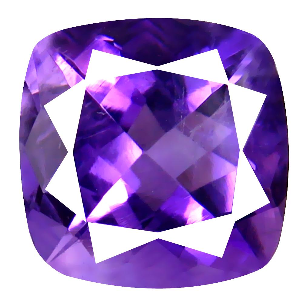 6.36 ct Attractive Cushion (12 x 12 mm) Un-Heated Uruguay Purple Amethyst Loose Gemstone