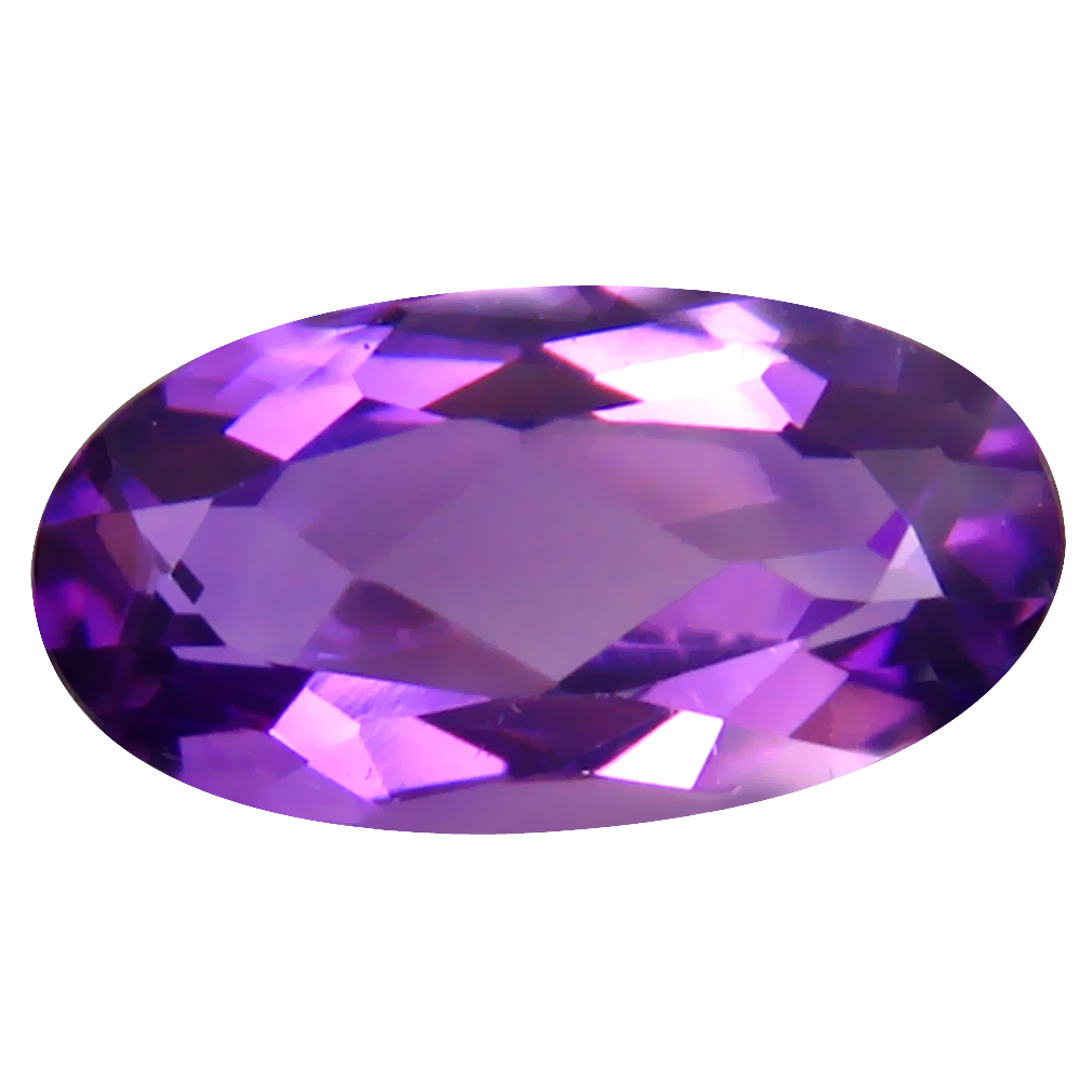 3.56 ct Super-Excellent Oval (14 x 7 mm) Un-Heated Uruguay Purple Amethyst Loose Gemstone
