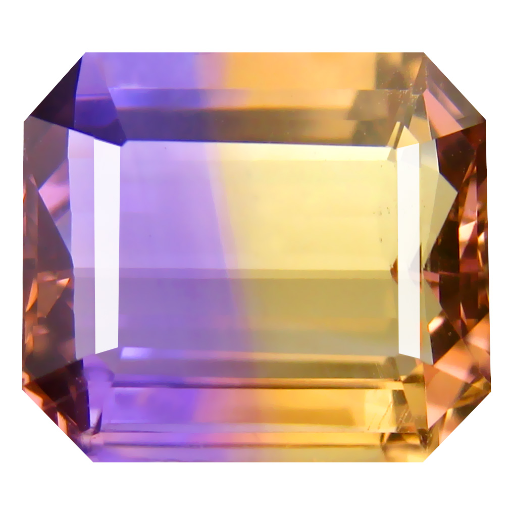 9.35 ct Shimmering Octagon Cut (14 x 12 mm) Unheated / Untreated Purple and Yellow Ametrine Natural Gemstone