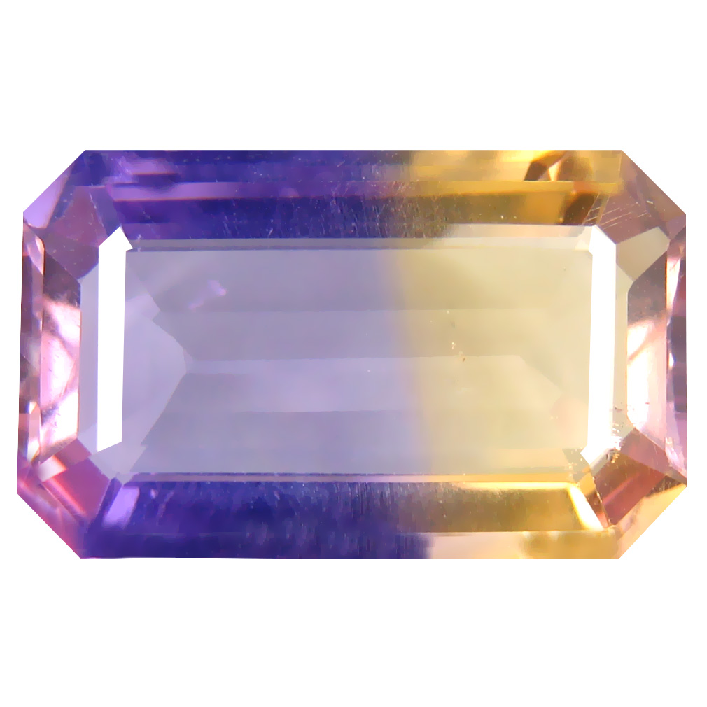 9.31 ct Magnificent Octagon Cut (18 x 11 mm) Unheated / Untreated Purple and Yellow Ametrine Natural Gemstone