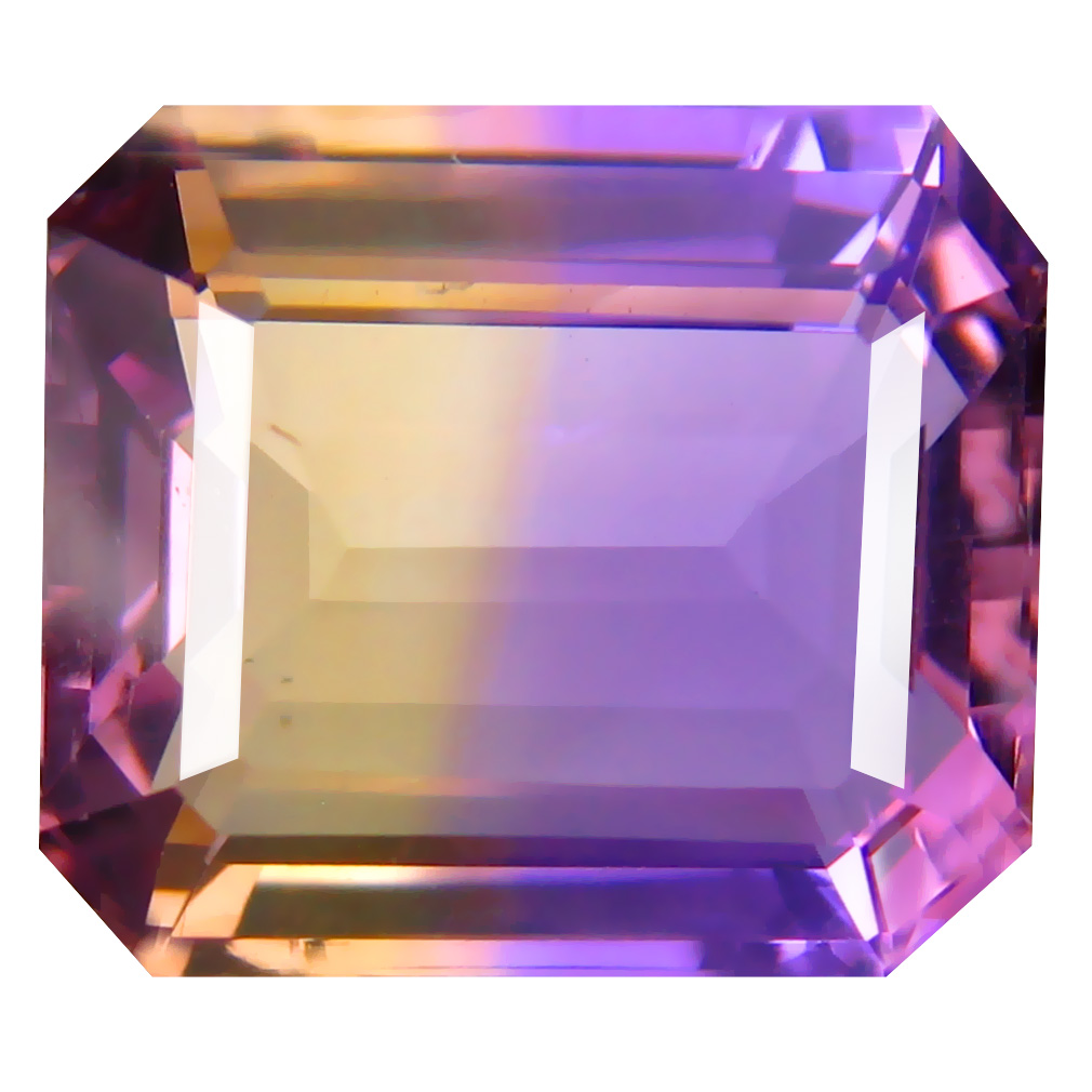 10.79 ct Elegant Octagon Cut (15 x 13 mm) Unheated / Untreated Purple and Yellow Ametrine Natural Gemstone