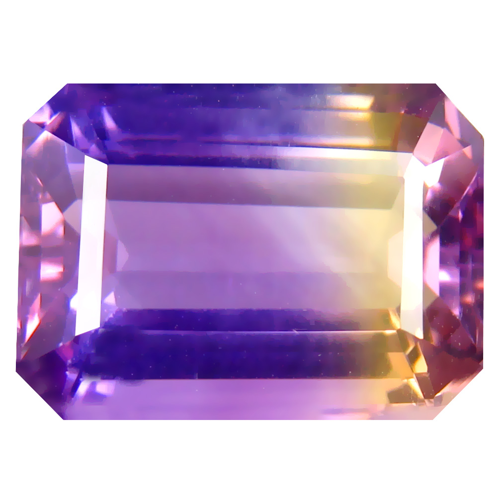 10.22 ct Resplendent Octagon Cut (15 x 11 mm) Unheated / Untreated Purple and Yellow Ametrine Natural Gemstone