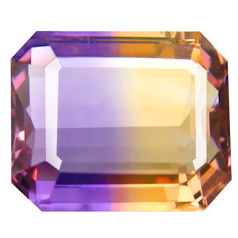 7.68 ct Resplendent Octagon Cut (14 x 11 mm) Unheated / Untreated Purple and Yellow Ametrine Natural Gemstone
