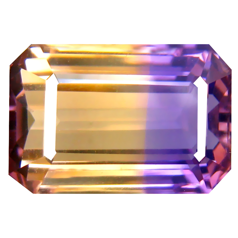 7.33 ct Mesmerizing Octagon Cut (13 x 9 mm) Unheated / Untreated Purple and Yellow Ametrine Natural Gemstone