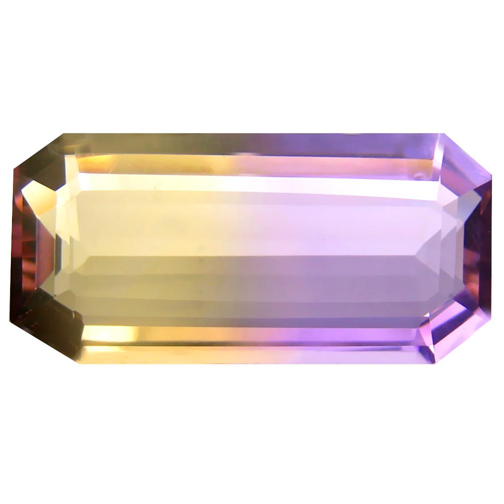 8.57 ct Very good Octagon Cut (21 x 10 mm) Unheated / Untreated Purple and Yellow Ametrine Natural Gemstone