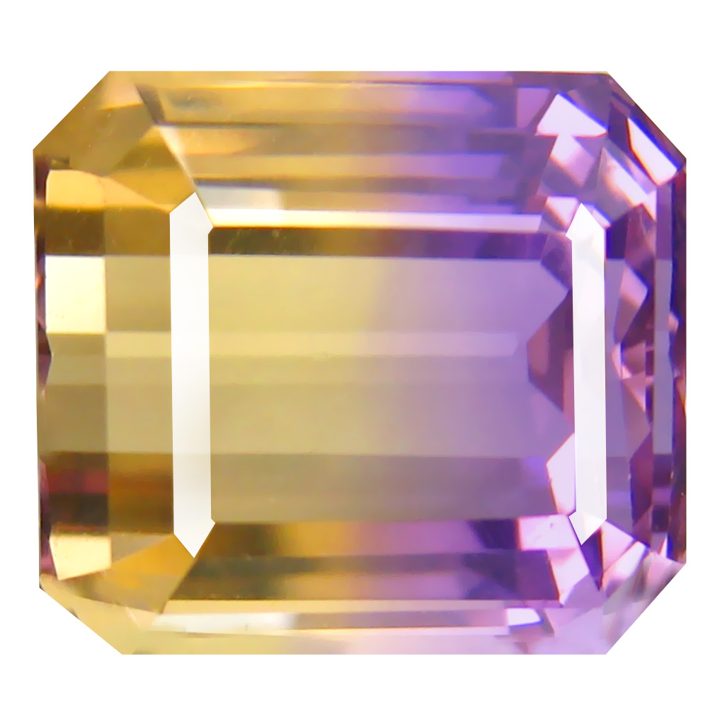 9.08 ct Five-star Octagon Cut (12 x 11 mm) Unheated / Untreated Purple and Yellow Ametrine Natural Gemstone