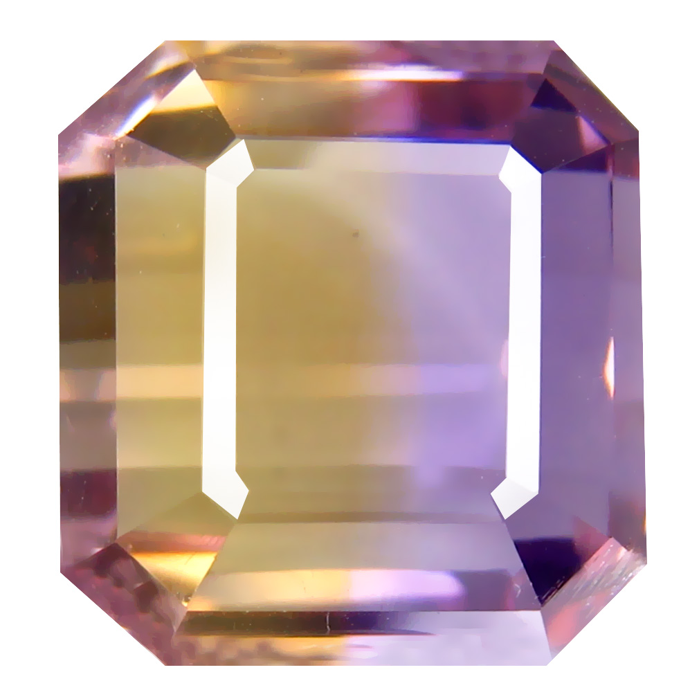 11.47 ct Magnificent fire Octagon Cut (12 x 12 mm) Unheated / Untreated Purple and Yellow Ametrine Natural Gemstone