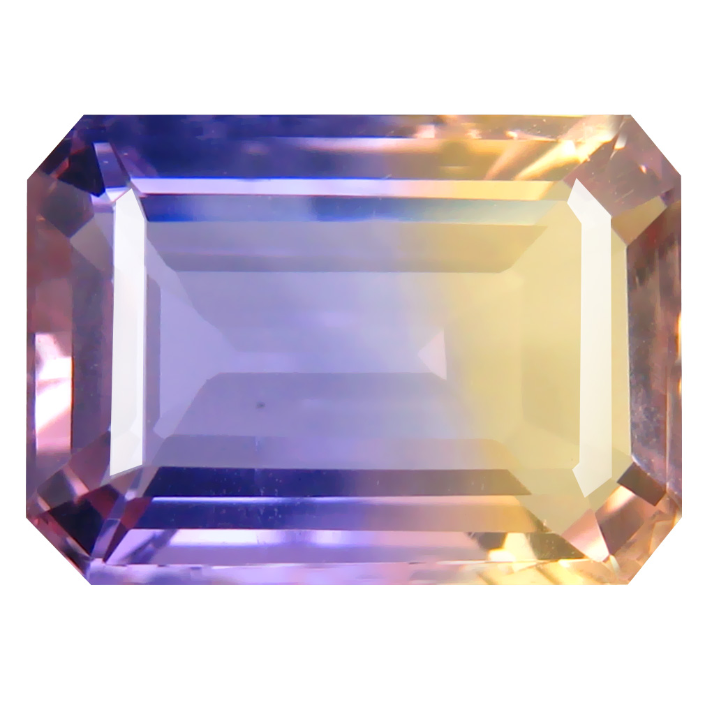 7.37 ct Wonderful Octagon Cut (14 x 10 mm) Unheated / Untreated Purple and Yellow Ametrine Natural Gemstone
