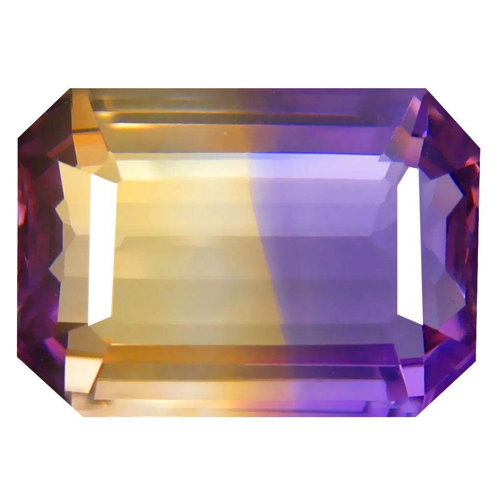 7.98 ct Unbelievable Octagon Cut (14 x 10 mm) Unheated / Untreated Purple and Yellow Ametrine Natural Gemstone