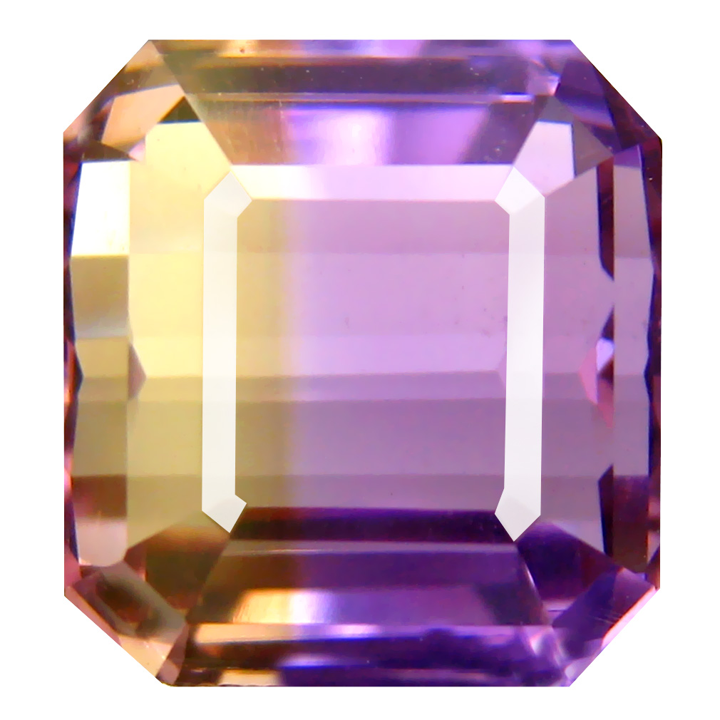 11.22 ct Five-star Octagon Cut (12 x 11 mm) Unheated / Untreated Purple and Yellow Ametrine Natural Gemstone