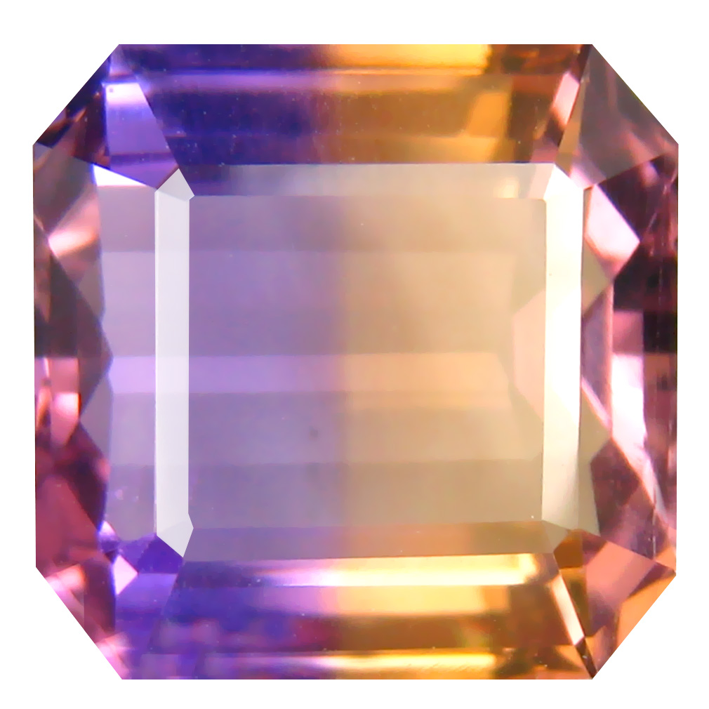 9.78 ct Valuable Octagon Cut (13 x 13 mm) Unheated / Untreated Purple and Yellow Ametrine Natural Gemstone