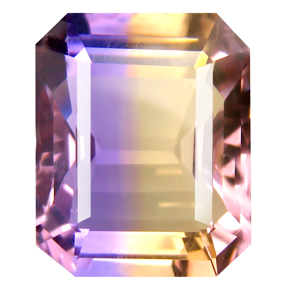 6.45 ct Romantic Octagon Cut (13 x 11 mm) Unheated / Untreated Purple and Yellow Ametrine Natural Gemstone
