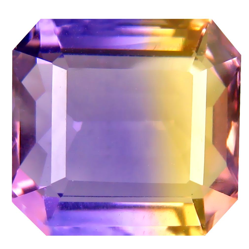 7.18 ct Terrific Octagon Cut (12 x 12 mm) Unheated / Untreated Purple and Yellow Ametrine Natural Gemstone