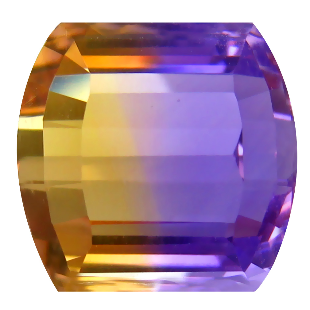9.70 ct Tremendous Fancy Cut (13 x 12 mm) Unheated / Untreated Purple and Yellow Ametrine Natural Gemstone