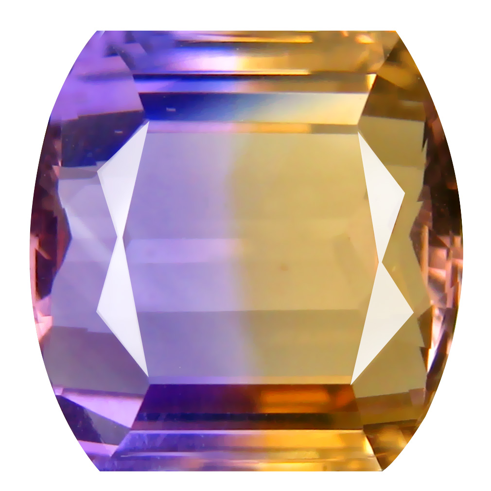 8.88 ct Marvelous Fancy Cut (12 x 12 mm) Unheated / Untreated Purple and Yellow Ametrine Natural Gemstone