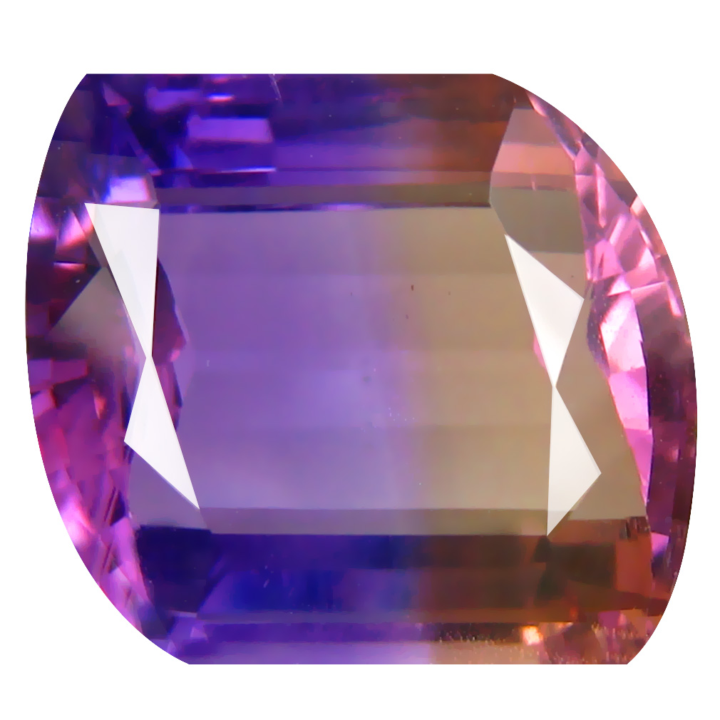 9.96 ct Outstanding Fancy Cut (14 x 13 mm) Unheated / Untreated Purple and Yellow Ametrine Natural Gemstone