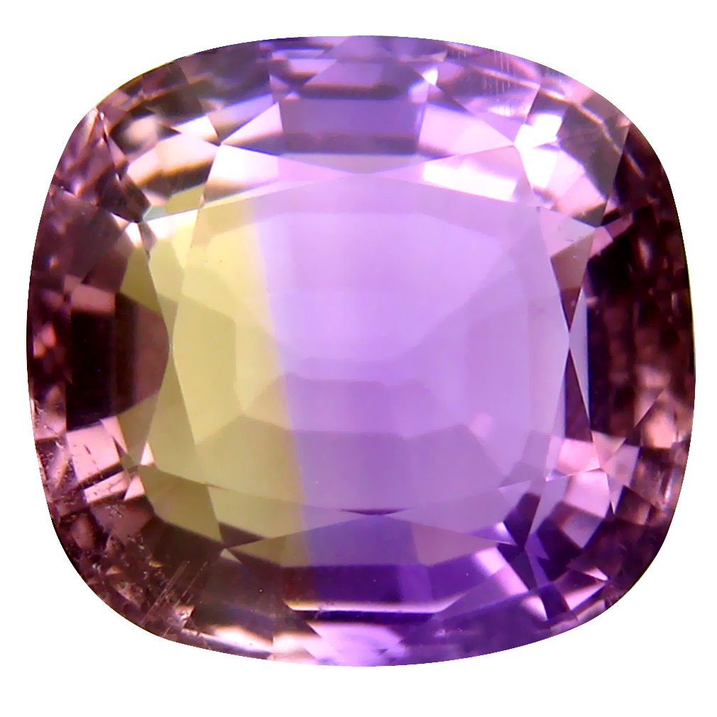 9.41 ct Stunning Cushion Cut (13 x 12 mm) Unheated / Untreated Purple and Yellow Ametrine Natural Gemstone