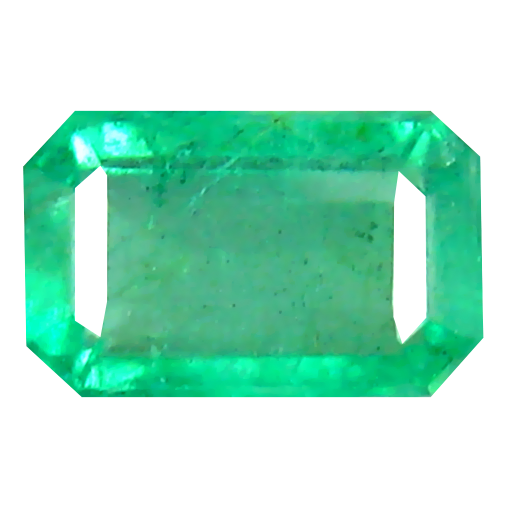 0.58 ct Superb Octagon Cut (6 x 4 mm) Colombian Emerald Natural Gemstone