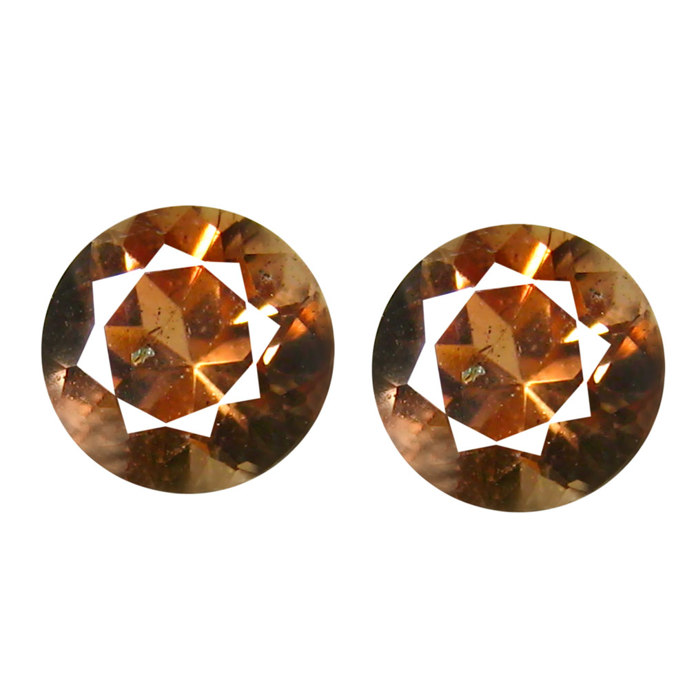 1.03 ct (2pcs) Incomparable MATCHING PAIR 5 mm Round cut Un-Heated Andalusite Natural Gemstone