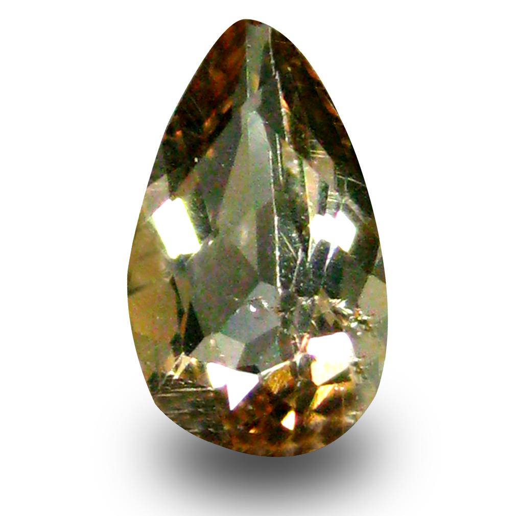 0.55 ct AAA Grade Incomparable Pear Cut (8 x 4 mm) 100% Natural Brownish Yellow Axinite Gemstone