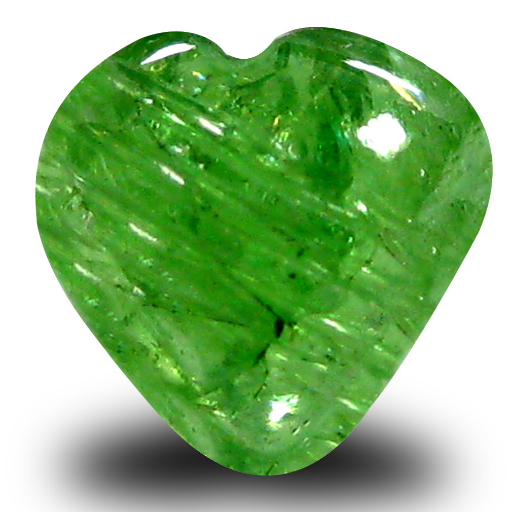 1.76 ct AAA Translucent Topnotch Un-Heated Heart Cabochon Cut (7 x 7 mm) Green Tsavorite Garnet