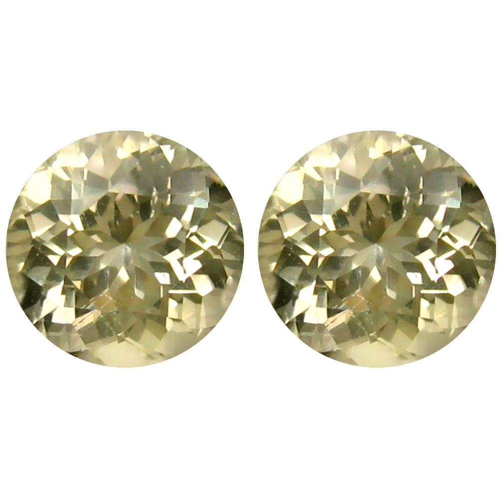 2.58 ct (2pcs) MATCHING PAIR First-class Round Cut (7 x 7 mm) Yellow Yellow Andesine Genuine Stone