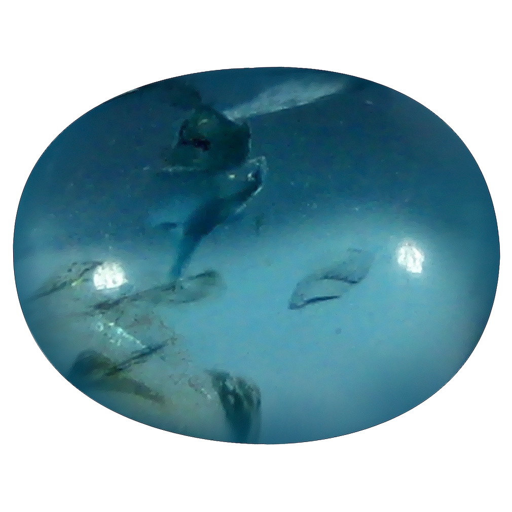 1.50 ct Oval Cabochon Shape (8 x 6 mm) Brazilian Paraiba Blue Apatite Loose Gemstone