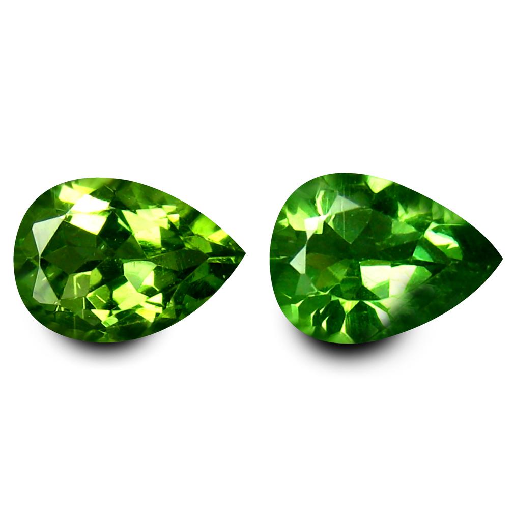1.45 ct (2pcs) Remarkable MATCHING PAIR Pear Shape (8 x 5 mm) Apatite Natural Gemstone