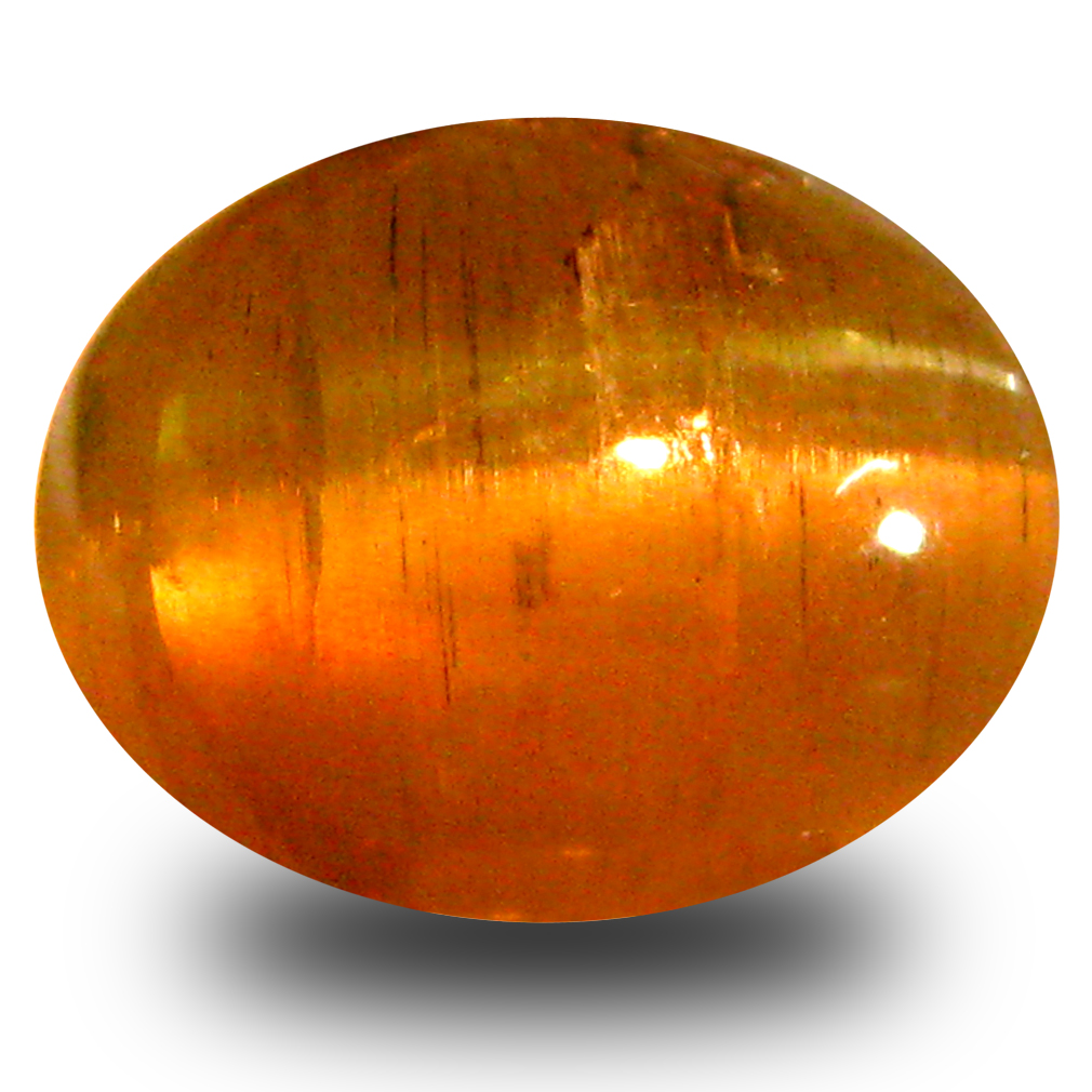 4.58 ct AAA Remarkable Oval Cabochon Shape (10 x 8 mm) Honey Brown Green Apatite Cat's Eye Natural Gemstone