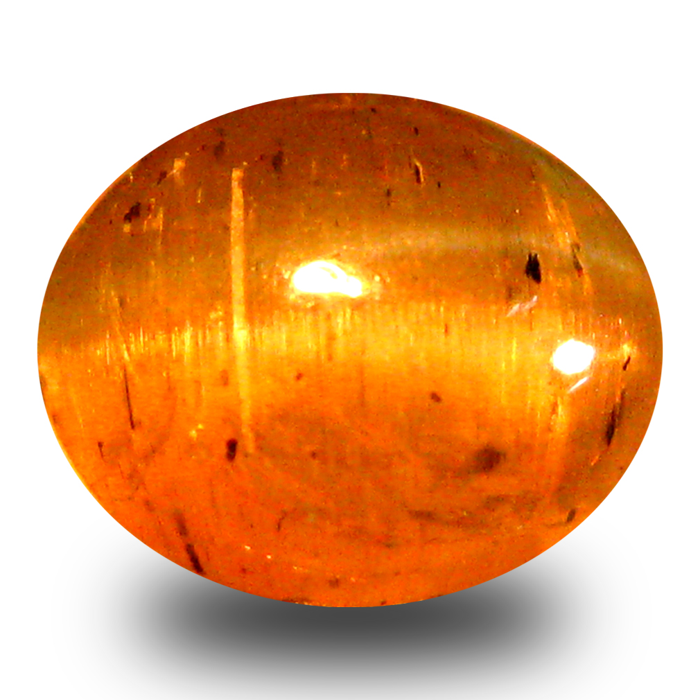 2.27 ct AAA Mesmerizing Oval Cabochon Shape (8 x 6 mm) Honey Brown Green Apatite Cat's Eye Natural Gemstone