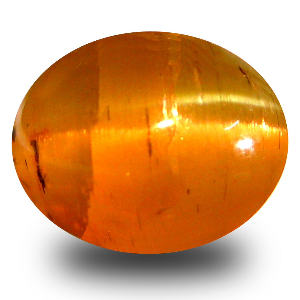 6.30 ct AAA Splendid Oval Cabochon Shape (11 x 9 mm) Honey Brown Green Apatite Cat's Eye Natural Gemstone