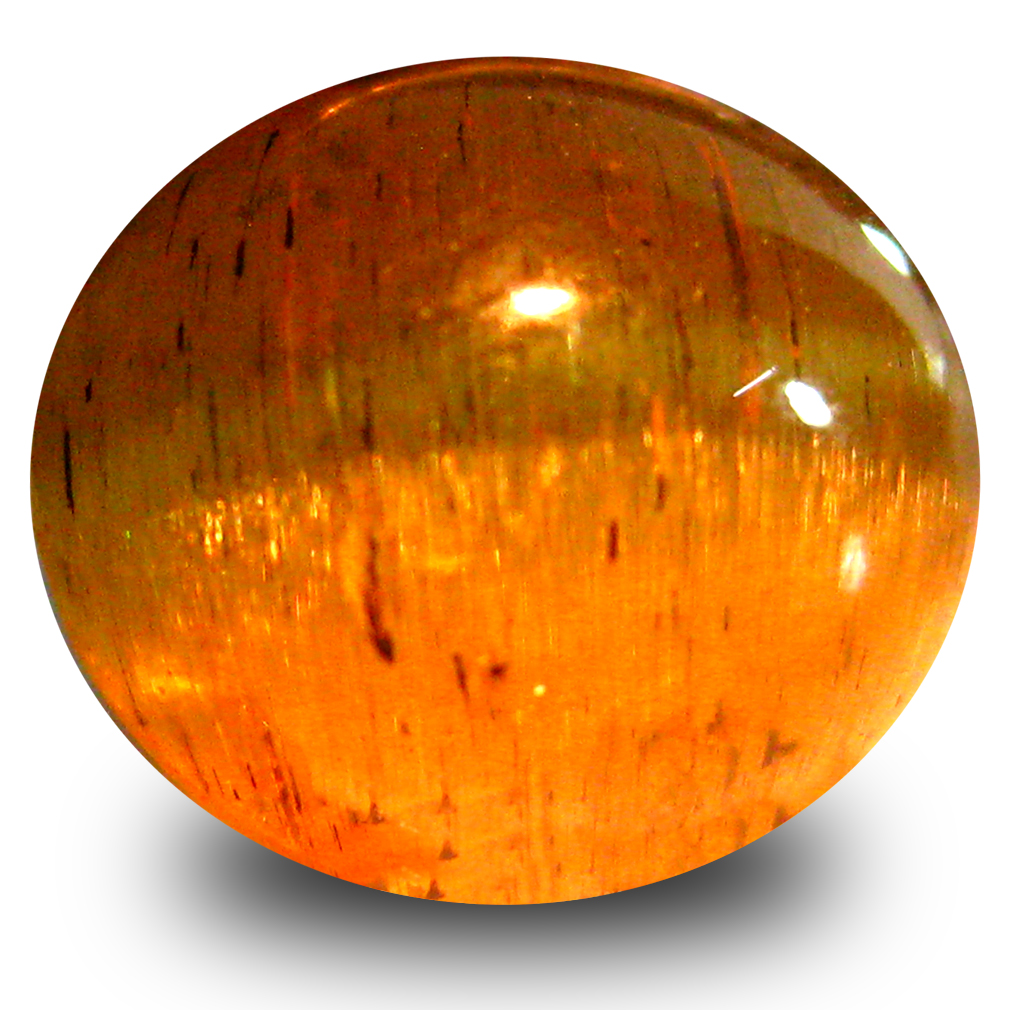 6.02 ct AAA Eye-opening Oval Cabochon Shape (10 x 9 mm) Honey Brown Green Apatite Cat's Eye Natural Gemstone