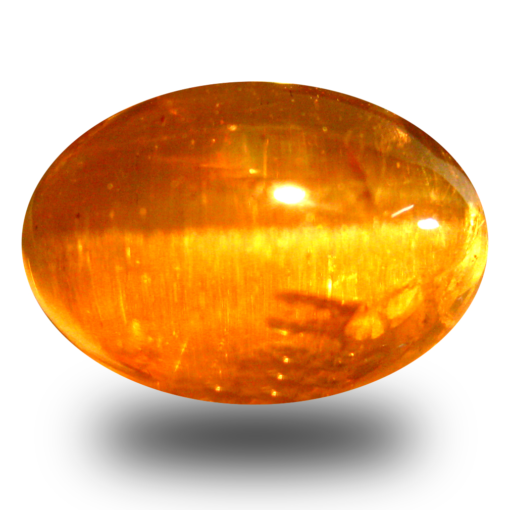 9.43 ct AAA Best Oval Cabochon Shape (13 x 9 mm) Honey Brown Green Apatite Cat's Eye Natural Gemstone