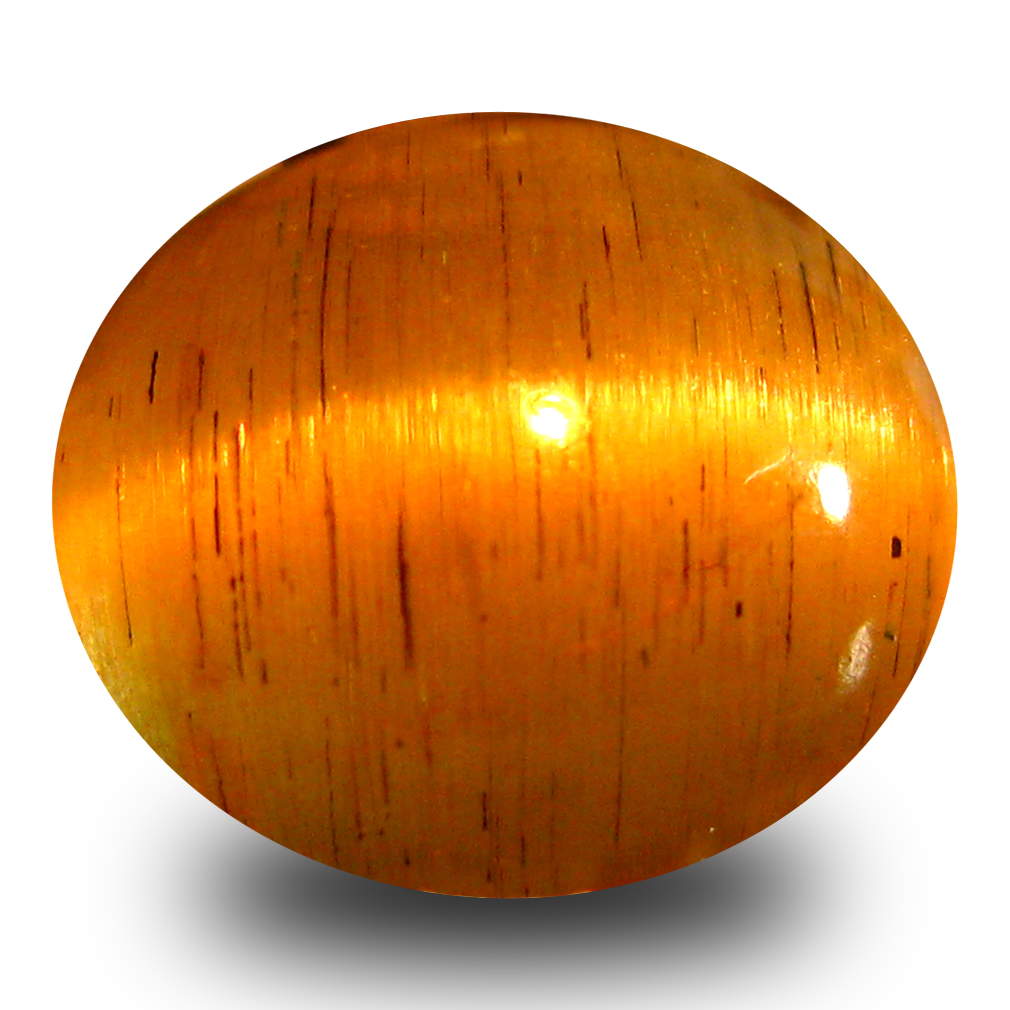 2.95 ct AAA Impressive Oval Cabochon Shape (9 x 8 mm) Honey Brown Green Apatite Cat's Eye Natural Gemstone
