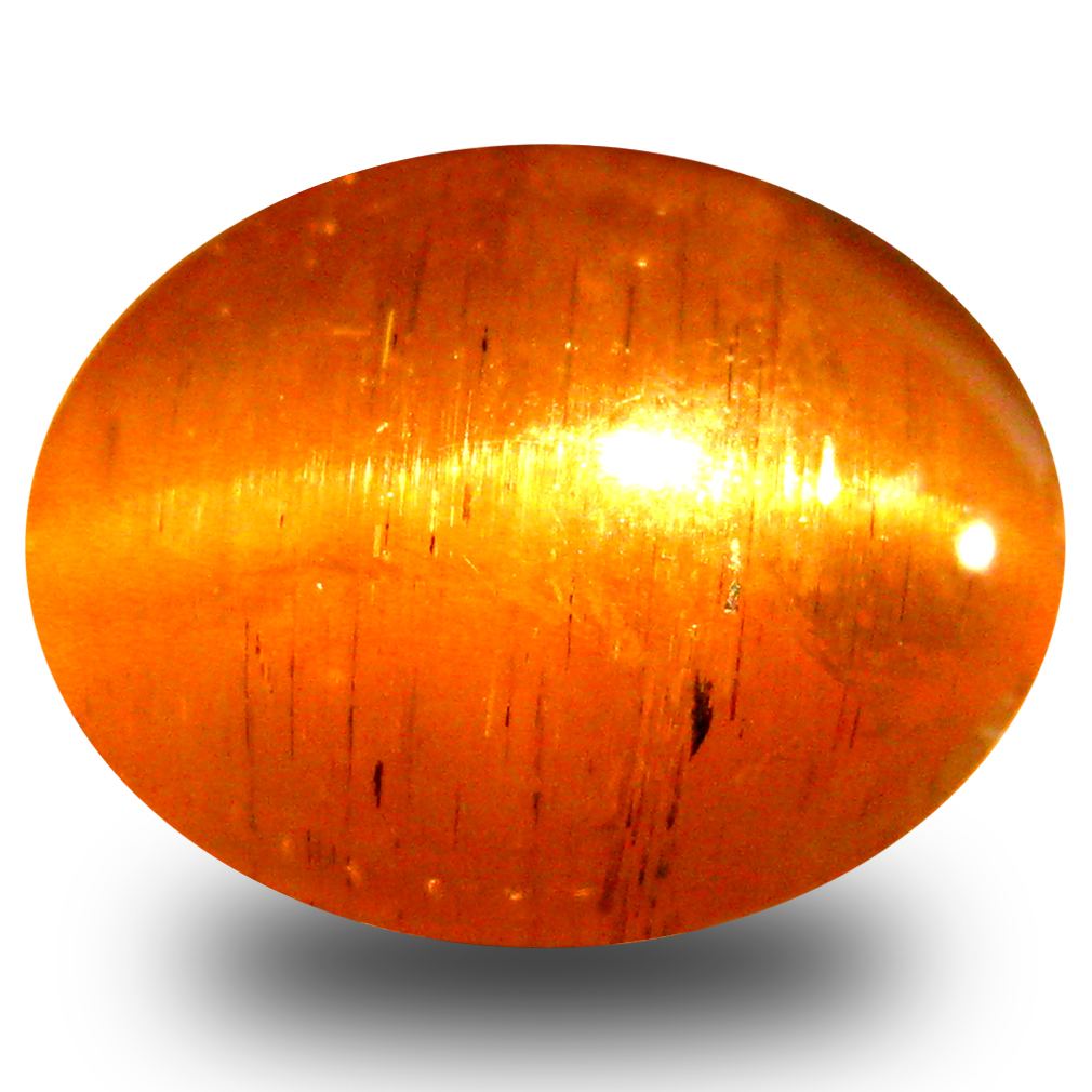 3.83 ct AAA Unbelievable Oval Cabochon Shape (10 x 8 mm) Honey Brown Green Apatite Cat's Eye Natural Gemstone