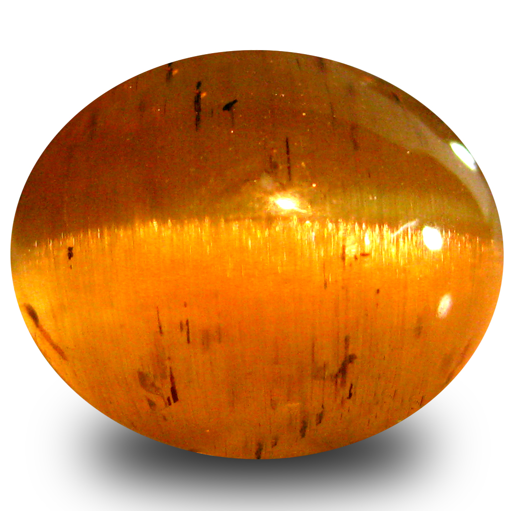 5.71 ct AAA Best Oval Cabochon Shape (11 x 9 mm) Honey Brown Green Apatite Cat's Eye Natural Gemstone