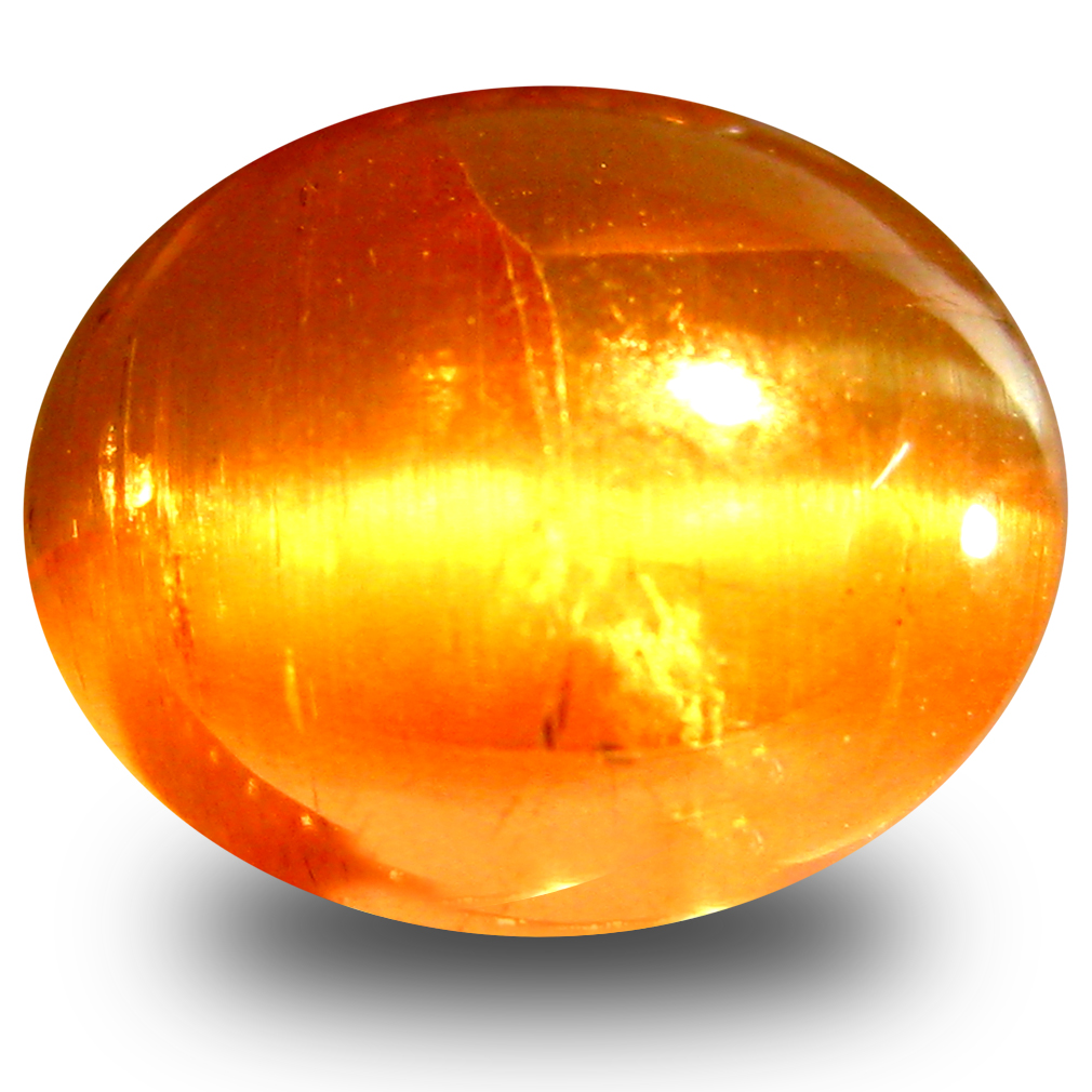 3.34 ct AAA Eye-catching Oval Cabochon Shape (9 x 8 mm) Honey Brown Green Apatite Cat's Eye Natural Gemstone