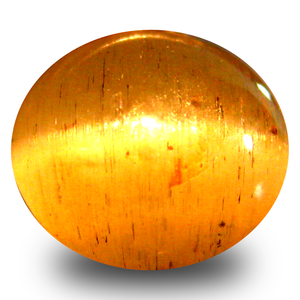 3.21 ct AAA Topnotch Oval Cabochon Shape (9 x 8 mm) Honey Brown Green Apatite Cat's Eye Natural Gemstone