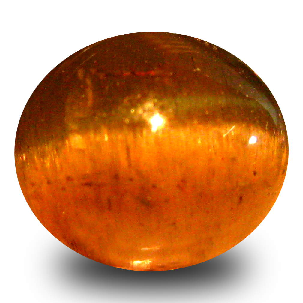 3.08 ct AAA Extraordinary Oval Cabochon Shape (8 x 7 mm) Honey Brown Green Apatite Cat's Eye Natural Gemstone