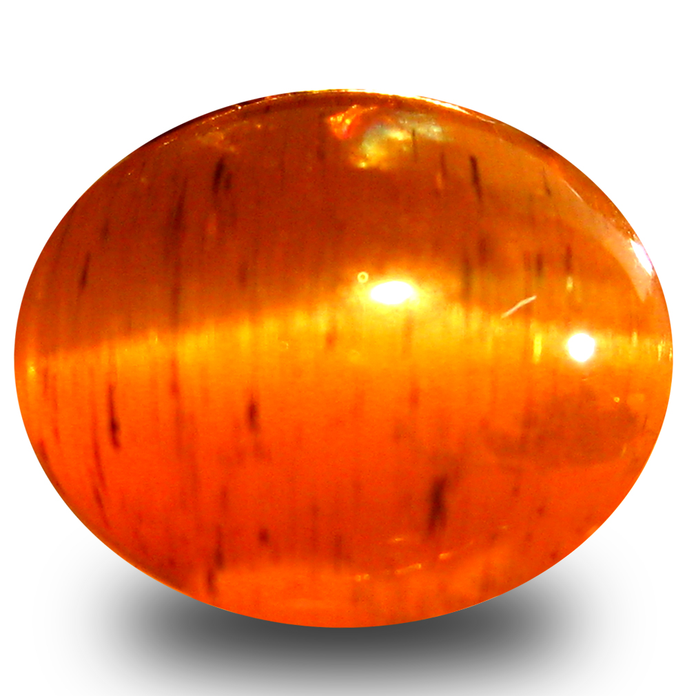 3.40 ct AAA Great looking Oval Cabochon Shape (9 x 7 mm) Honey Brown Green Apatite Cat's Eye Natural Gemstone