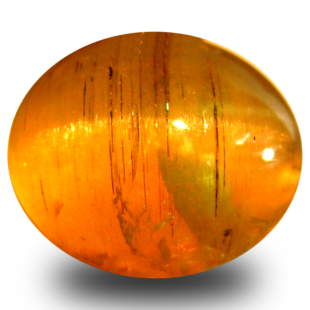 4.37 ct AAA Flashing Oval Cabochon Shape (10 x 8 mm) Honey Brown Green Apatite Cat's Eye Natural Gemstone