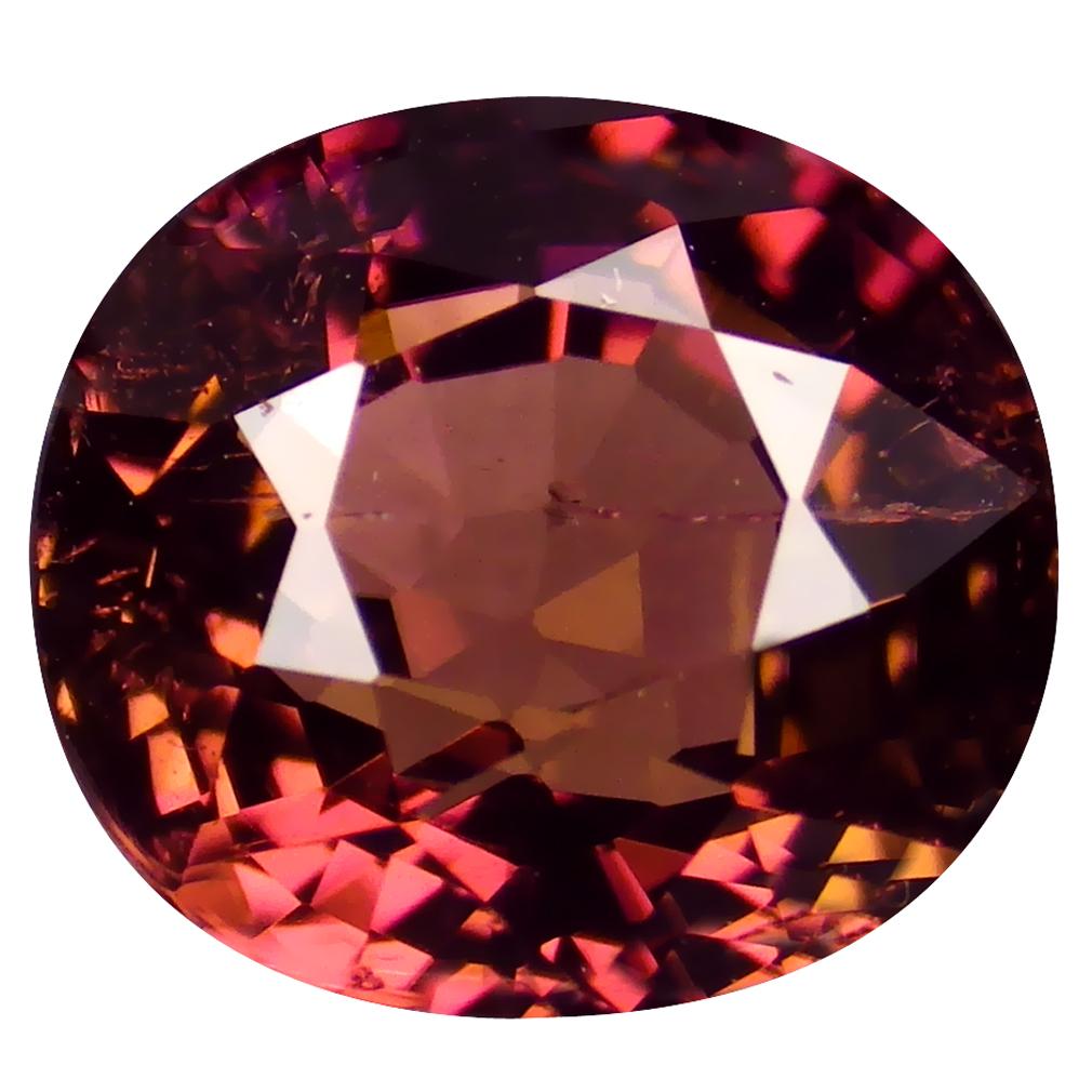 2.06 ct FAIR OVAL CUT (8 X 7 MM) MOZAMBIQUE ORANGE PINK TOURMALINE NATURAL GEMSTONE